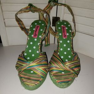 Betseyville Green Wedges with ankle straps